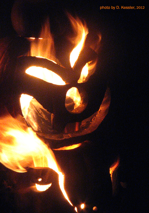 detail of Flaming Pumpkin totem Pole, 2012