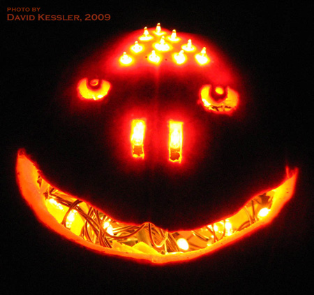 electric light pumpkin, by Drew Hillaker